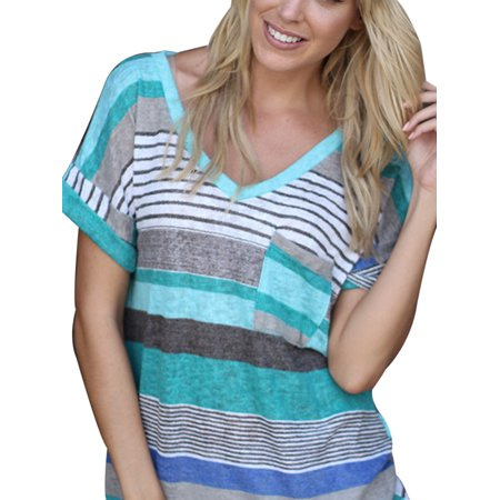 862c660f3f8 Sexy Dance - Plus Size Womens Casual V Neck Colorful Striped T Shirt Ladies  Short Sleeve Blouse Tops Casual Tee - Walmart.com