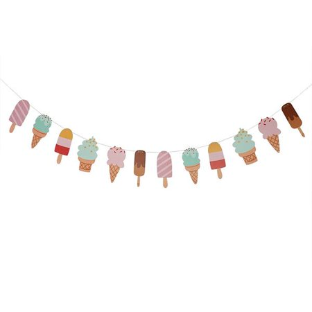Ice Cream and Popsicle Paper Party Garland Streamer Decoration 10 Feet Garland