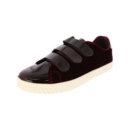 Tretorn Women's Carry 4 Velvet / Patent Leather Rubino Dark Black Cherry Ankle-High Fashion Sneaker - 10.5M Patent Leather High Top