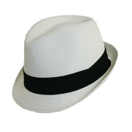 Scala Paper Braid - Scala Classico Women's Paper Braid Fedora Hat White Black OS