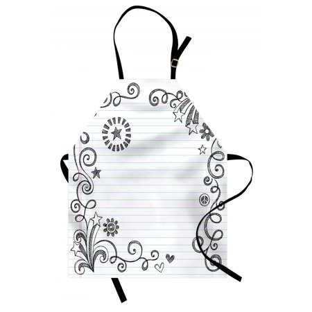 Doodle Apron Back to School Theme Hand Drawn Style Border with Stars Flowers and Swirls, Unisex Kitchen Bib Apron with Adjustable Neck for Cooking Baking Gardening, Black Pale Blue Pink, by Ambesonne