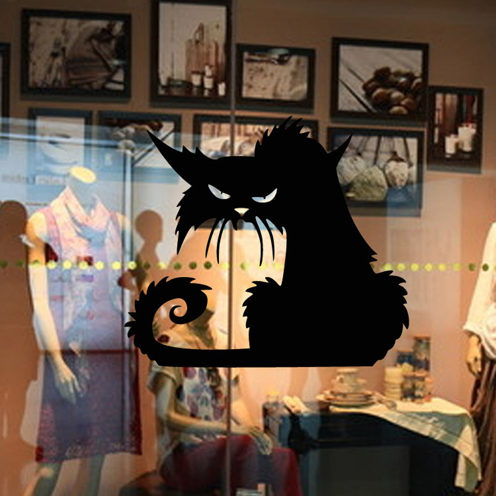 Vinyl Removable 3D Wall Sticker Halloween Black Cat Decor Decals For Walls Decal