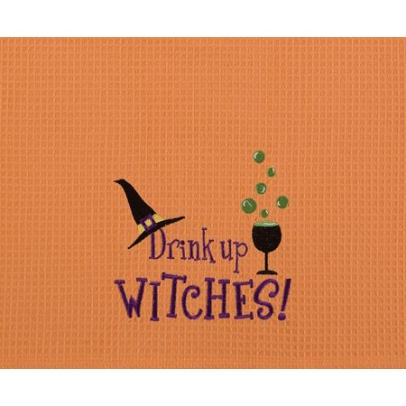 Drink Up Witches! Funny Halloween Orange Waffle Weave Kitchen Towel, cotton By CF Home from - Funny Halloween Drinks