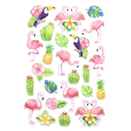 Tropical Flamingo Foil Accented Watercolor Epoxy Stickers, - Epoxy Stickers