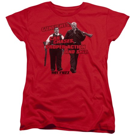 Hot Fuzz Crime Comedy Buddy Cop Movie Day's Work Women's T-Shirt Tee (Hot Female Cops)