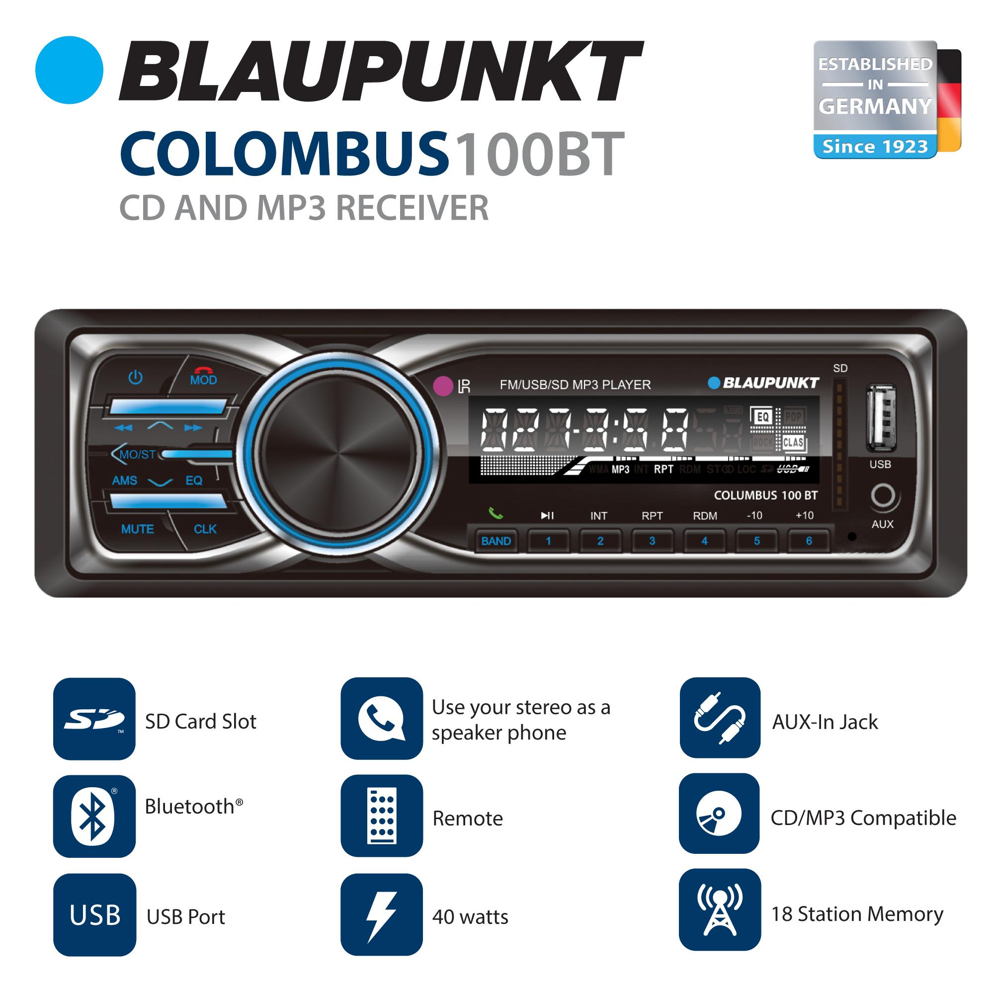 Blaupunkt MP3 and FM Stereo Receiver with Bluetooth (CLM100BT) by Blaupunkt