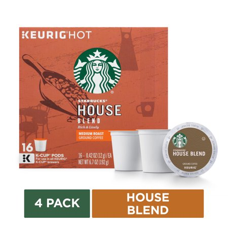 Starbucks House Blend Medium Roast Single Cup Coffee For Keurig Brewers, 4 Boxes Of 16 (64 Total K-cup Pods)