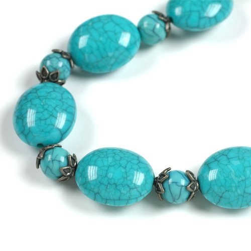 Cousin Acrylic Bead with Cap Strand, Teal, 48pc