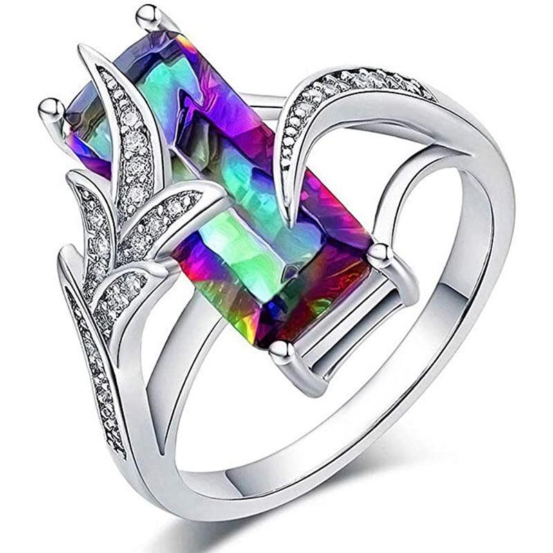 Rainbow Gemstone Band Ring in 925 Size N