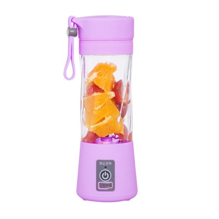 380ml Mini Portable USB Rechargeable Electric Juicer Bottle Fruit Blender Mixer with 2 Vanes (Purple)