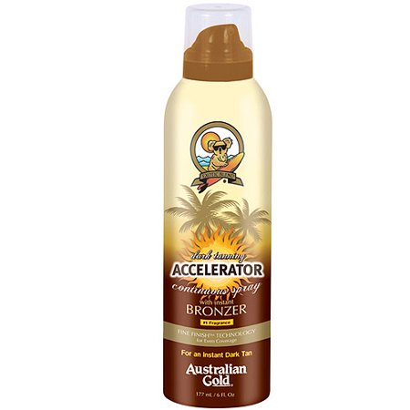 Tanning Oil Accelerator Continuous Spray with Instant Bronzer Australian Gold Dark, 6 fl