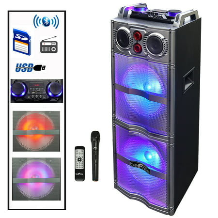 beFree Sound Double 10 Inch Subwoofer Bluetooth Portable Party Speaker with Reactive Lights, USB/ SD Input, FM Radio, Remote Control and (Double Speaker)