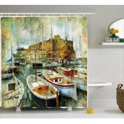 Marine Shower Curtain Naples Small Boats At Historical Italian Coast With Heritage Castle Nautical Artwork