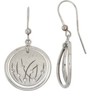 Crystal Accent Rhodium-Plated Sterling Silver Matte-Finished Grass Pattern Polished Frame Round Drop Earrings