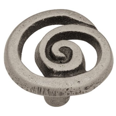Pewter Old World Round Knobs ((10 Pack) Rustic Pewter Swirl Knob 35mm )