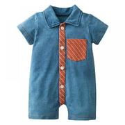 EleaEleanor Summer Newborn Baby Short-sleeved Romper Cotton Knitted Denim One-piece Romper Toddler Clothing