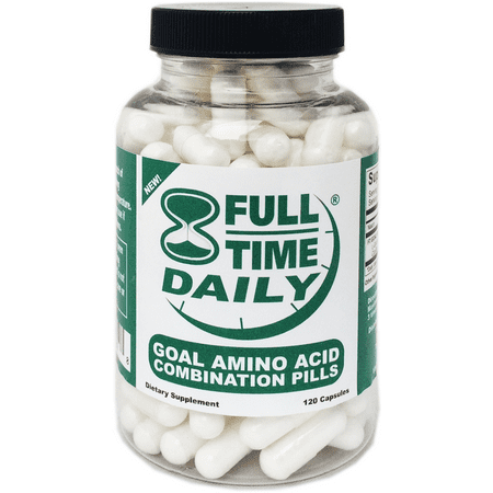 Full-Time Daily - GOAL Amino Acids Combination Pills 120 Capsules for Women and Men - Best L-Glycine L-Ornithine L-Arginine L-Lysine Complex Blend - Premium Anti Aging Formula - Top NO