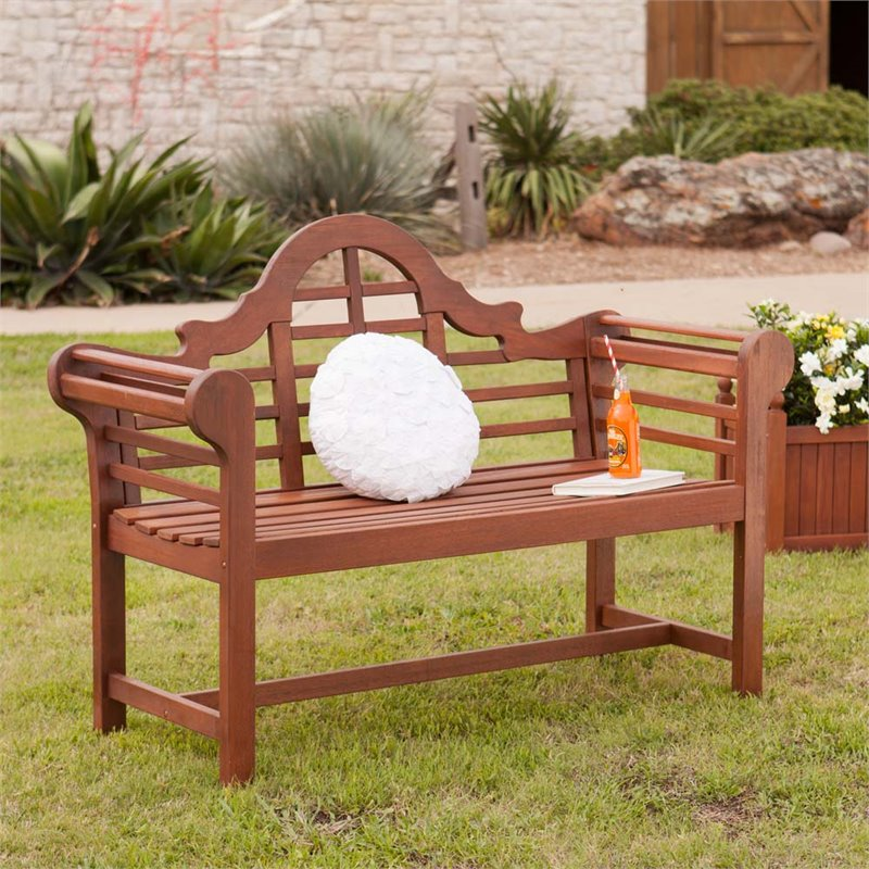 Southern Enterprises Lutyens Patio Bench in Natural Oiled...