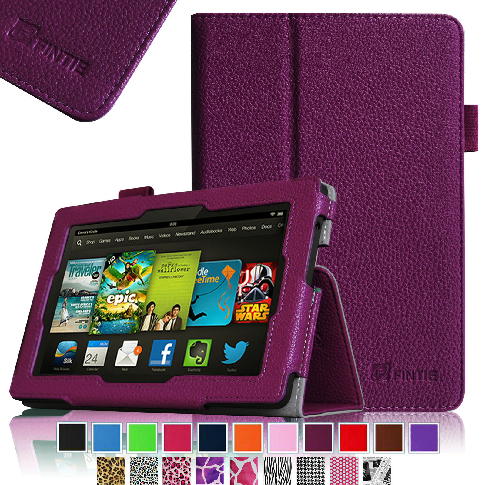 "Fintie Kindle Fire HD 7"" Tablet (2013 Old Model) Slim Fit Folio Case with Auto Sleep / Wake Feature, Purple"