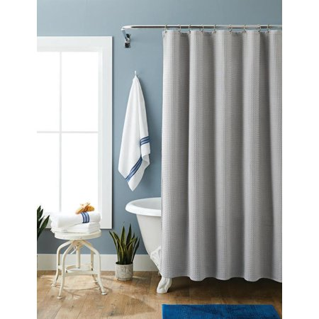 "Better Homes & Gardens Waffle Weave Fabric Shower Curtain 72"" x 72"""