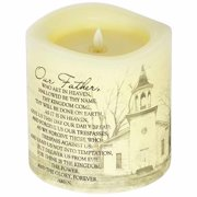 Candle-Flameless-Premier Flicker-Lord s Prayer w/Timer-Vanilla (6  x 6 )