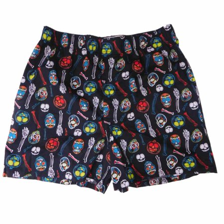 Mens Black Halloween Sugar Skulls Calavera Slim-Fit Boxer Shorts