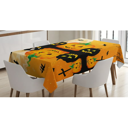 Halloween Decorations Tablecloth, Spooky Carved Halloween Pumpkin Full Moon with Bats and Grave Lake, Rectangular Table Cover for Dining Room Kitchen, 60 X 90 Inches, Orange Black, by Ambesonne - Good Halloween Pumpkin Carvings