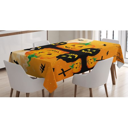 Halloween Decorations Tablecloth, Spooky Carved Halloween Pumpkin Full Moon with Bats and Grave Lake, Rectangular Table Cover for Dining Room Kitchen, 60 X 90 Inches, Orange Black, by Ambesonne - Spooky Halloween Pumpkin Carving Stencils