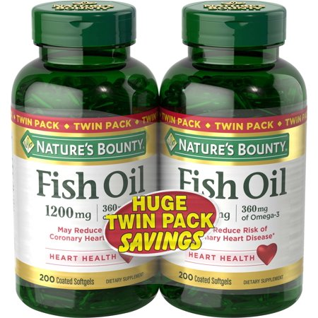 Nature's Bounty Fish Oil Omega-3 Softgels, 1200 Mg, 200 Ct, 2