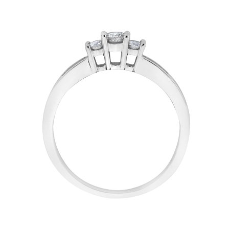 Diamond Engagement Ring and Three Stone Anniversary Ring 1/4 Carat (ctw H-I , I1-I2) in 14K White Gold - image 1 de 2