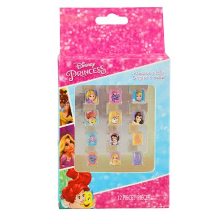 Disney Princess Girls Press On Nails Kids Nail Art Childrens Cosmetics 12 Pieces
