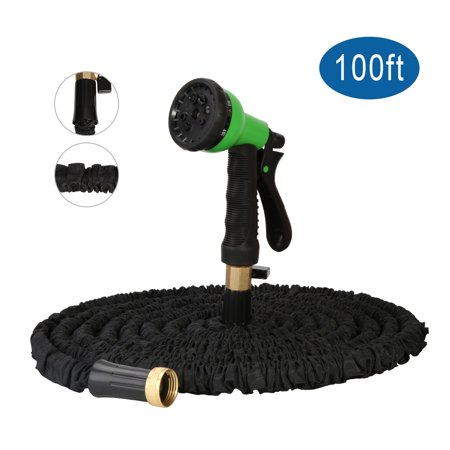 InGarden Garden Hose-Expandable Water Hose 3 Times Expanding Flexible Lightweight Magic Hose with Storage Bag for Washing Car, Watering Flowers, Suitable for Home and Commercial (100Ft, Black) (Water Hose Three Way)