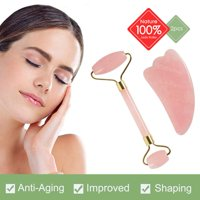 Jade Roller Gua Sha Scraping Massage Tool Set, Natural Facial Roller Beauty Skin Care Massager Anti-aging Rose Quartz Double Roller for Face Body Eyes Neck Slimming Firming Wrinkles Reduce Puffiness