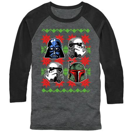 Star Wars Men's Ugly Christmas Sweater Empire Helmets Baseball Tee - Baseball Christmas