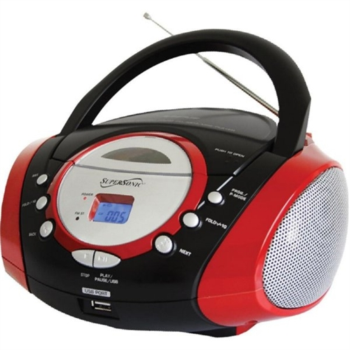 Supersonic Portable Audio System with USB Card Slot SC-508 SC-508RED