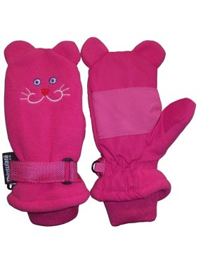 NICE CAPS Little Girls Fuchsia Waterproof and Thinsulate Lined Insulated Kitty Face Winter Snow Mitten - Fits Toddler Children Kids Child Youth Sizes For Cold Weather