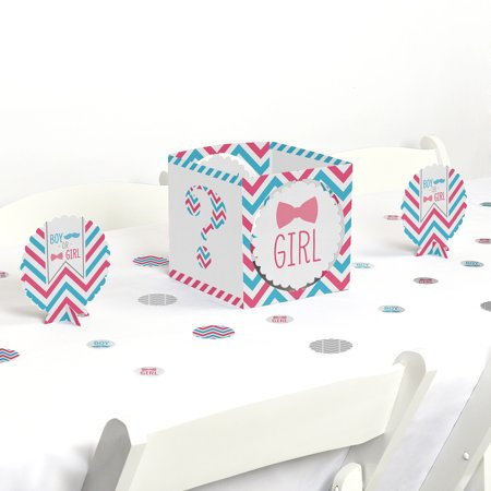 Chevron Gender Reveal - Baby Shower Party Centerpiece & Table Decoration - Baby Gender Reveal Decorations