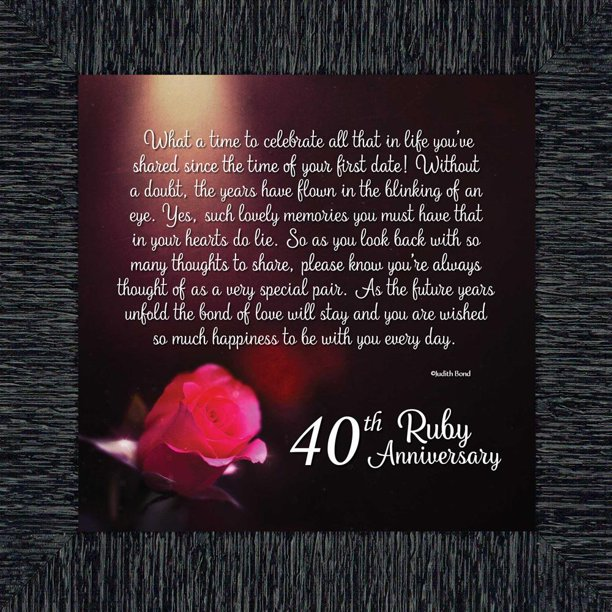 Ruby 40th Wedding Anniversary Gift or