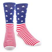 TeeHee American Flag Men's Cotton Crew Socks, Size 10-13