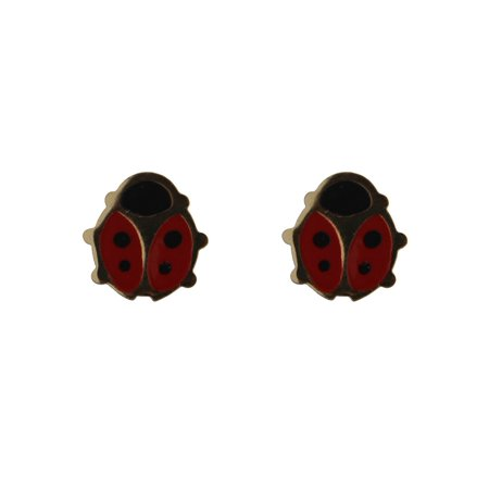 18KT Yellow Gold Red Enamel Lady Bug Post Earring 7mm