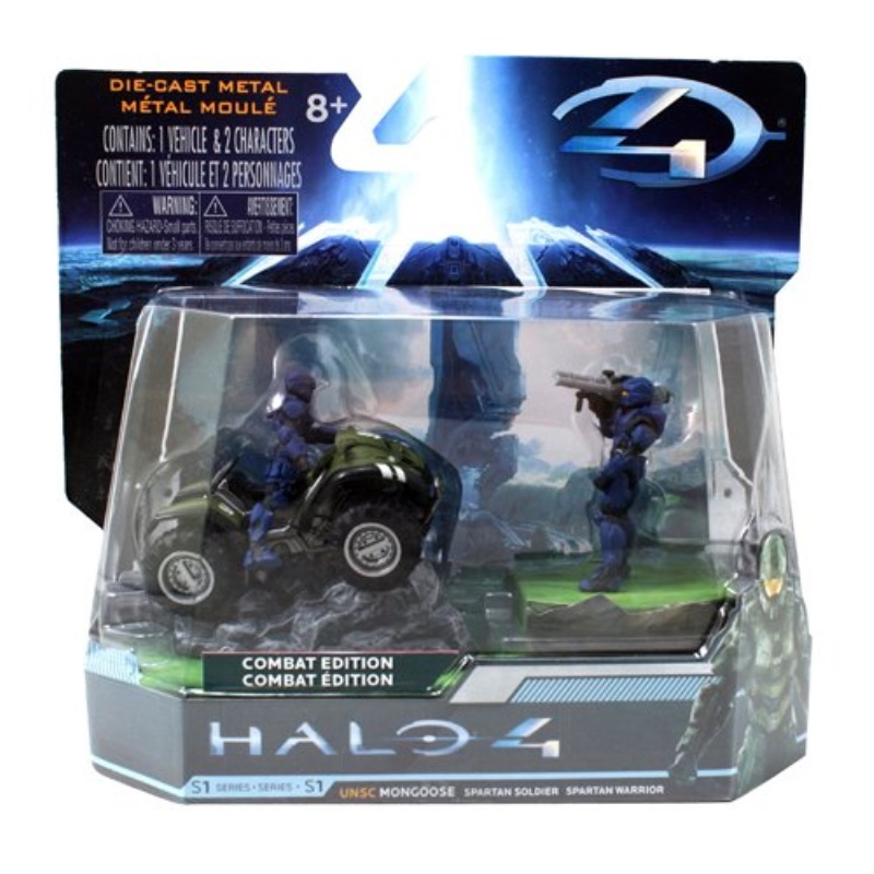 "HALO 4 Combat Edition: 2.8"" UNSC Mongoose with Blue Spartan Soldier and Warrior."