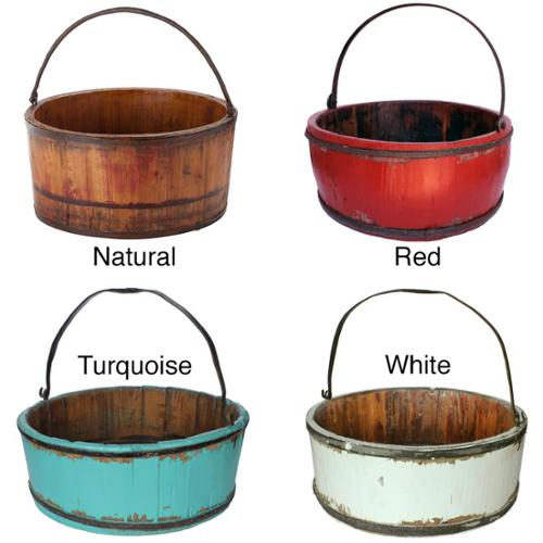 Wooden Vintage Kitchen Bucket Natural