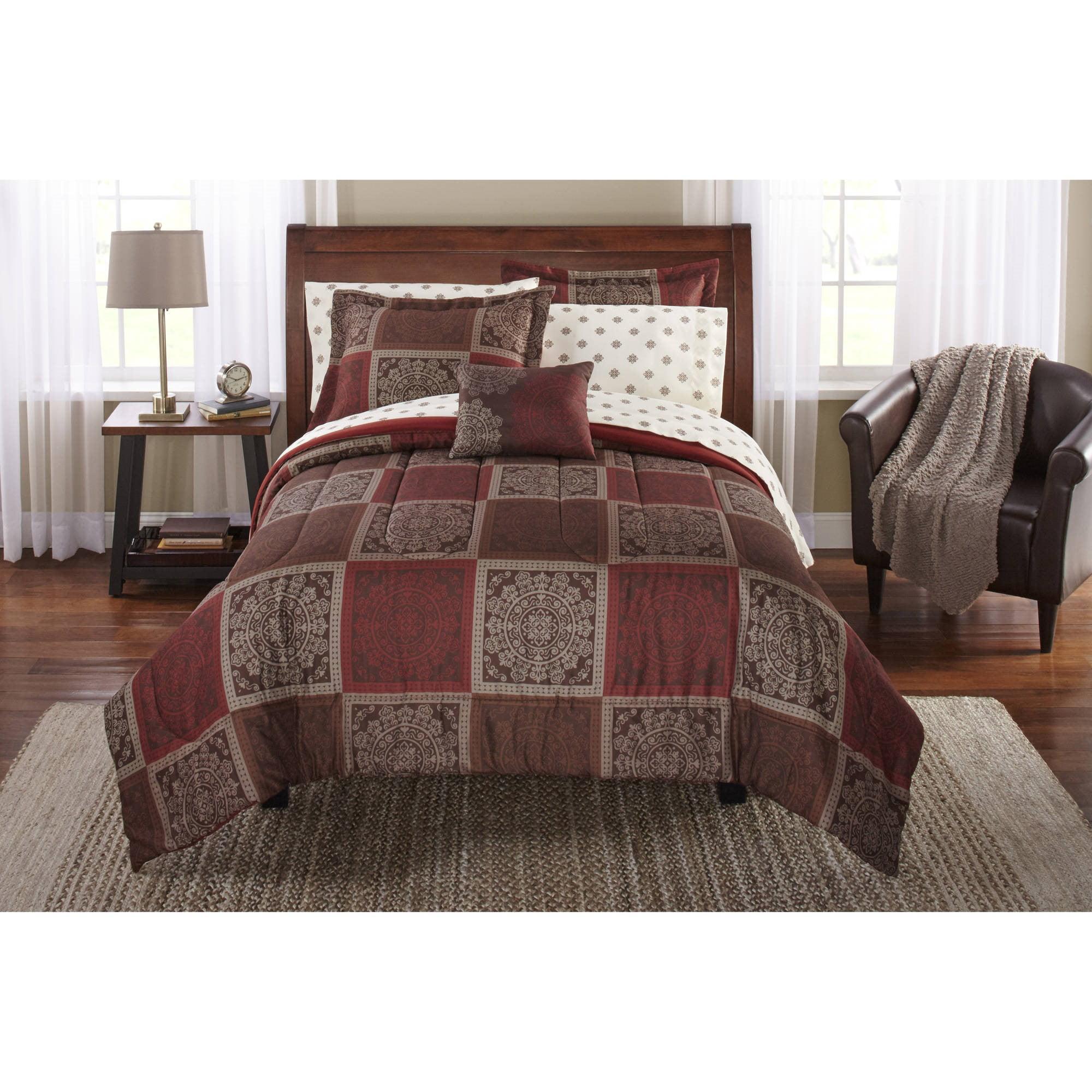 Mainstays Tiles Bed In A Bag Bedding Comforter Set Full Walmart Com Walmart Com