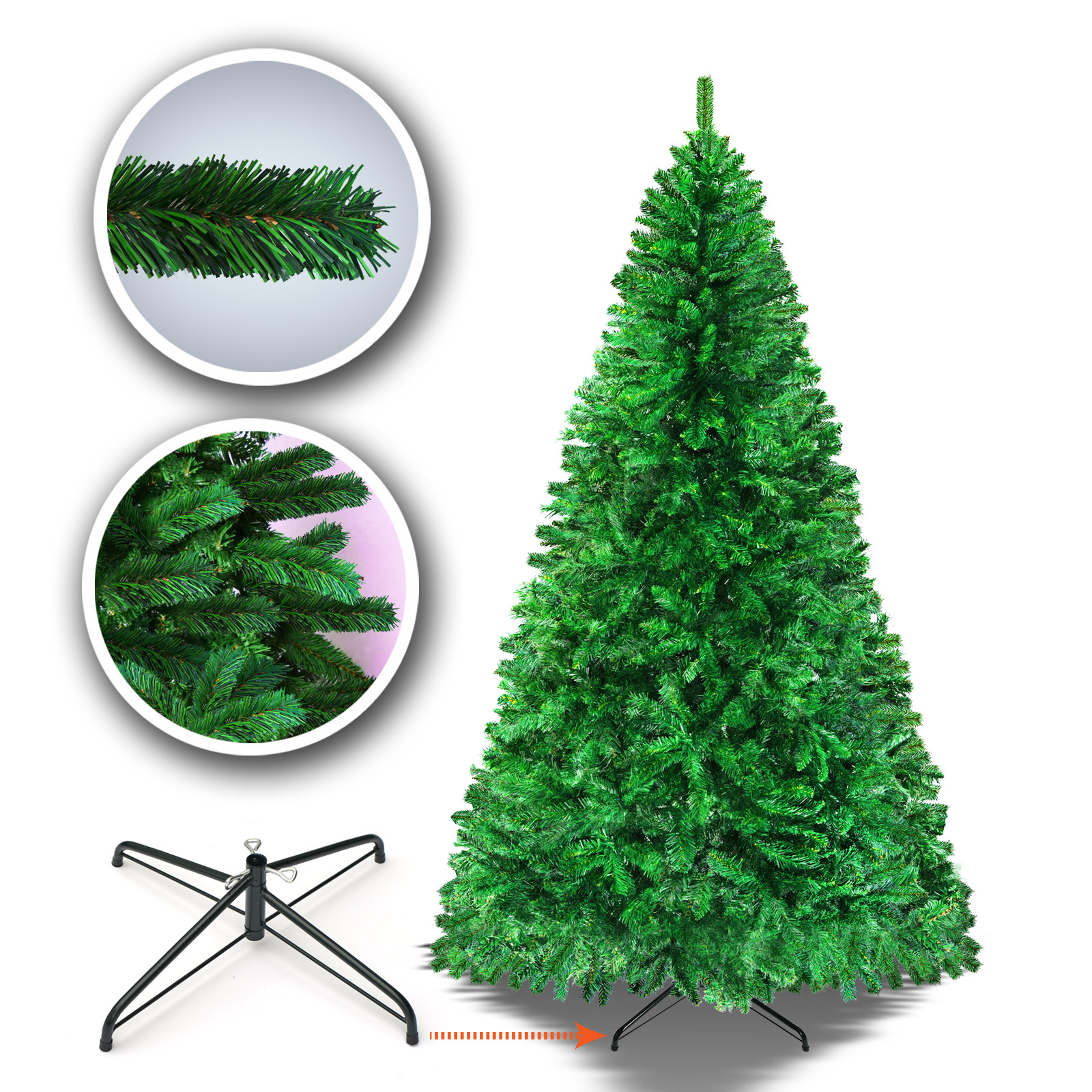 Sunrise 4 Sizes Artificial Christmas Tree w/Metal Stand ...