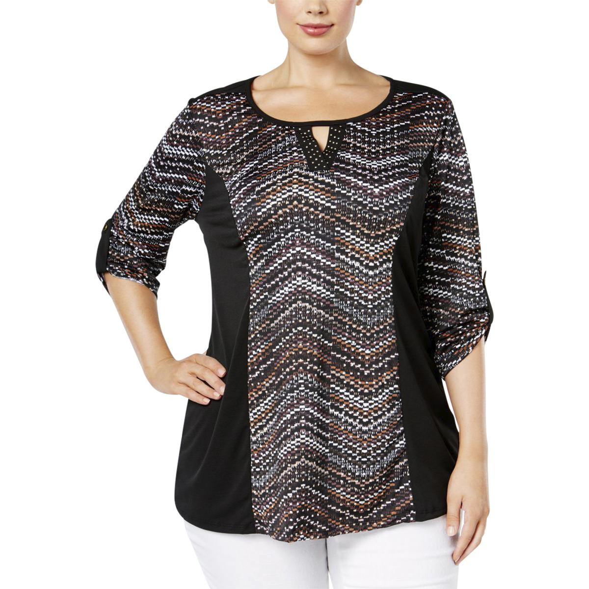 NY Collection Womens Plus Printed Embellished Pullover Top