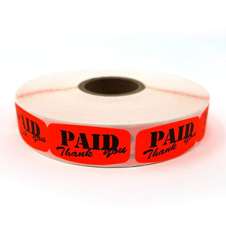 Paid Thank You Store Sticker, Fluorescent Orange Self-Adhesive Retail Merchandise Labels, 1000 Pack Mission Orange Label