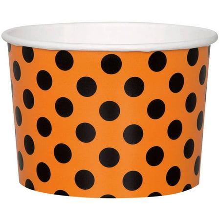 9oz Orange and Black Polka Dot Halloween Paper Ice Cream Cups, 8ct - Halloween Ice Cream Names