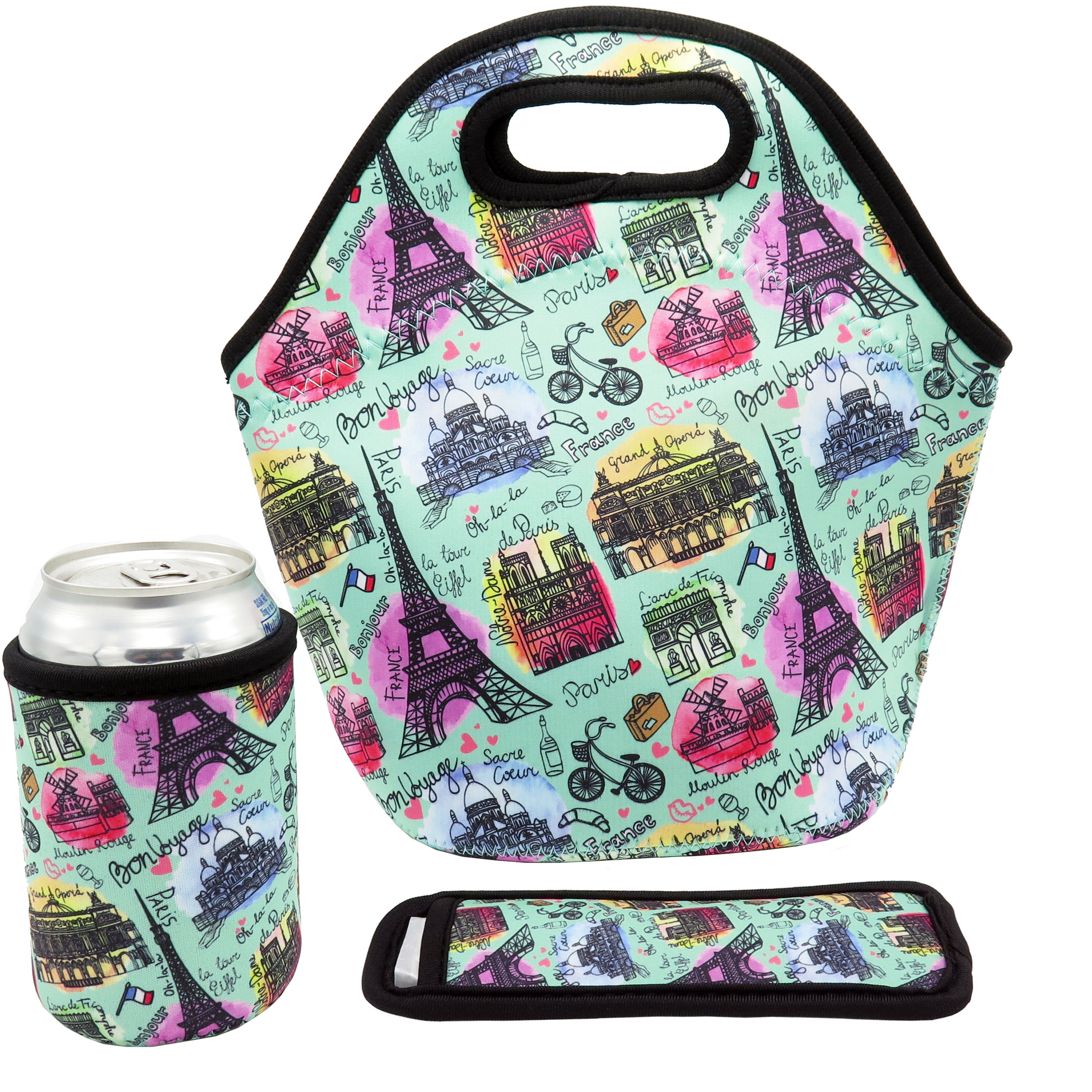 Neoprene Lunch Bag - Insulated Lunch Tote Bags (Paris Design Set)