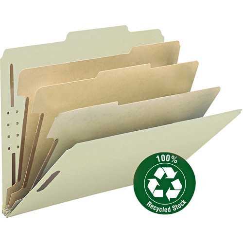 "Smead 100 Percent Recycled Pressboard Letter Size Classification Folders, 3"" Expansion and 6 Dividers, Box of 10, Gray / Green"