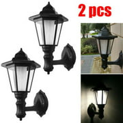 2pcs Waterproof Wall Mount Solar Lights Outdoor Pathway Gate Bright White Lamp Automatic Induction